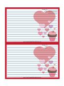 Valentines Cupcake 4x6 Red Recipe Card Template