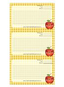 Kawaii Apple Recipe Card Template