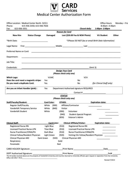 Card Services Medical Center Authorization Form