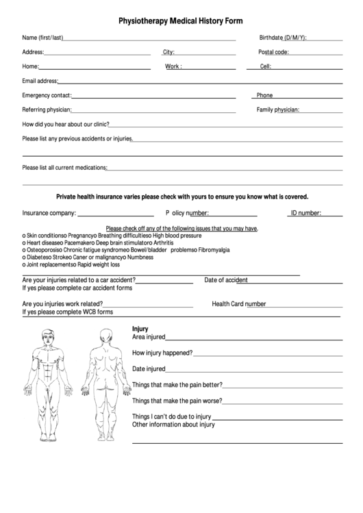 physiotherapy medical history form printable pdf download