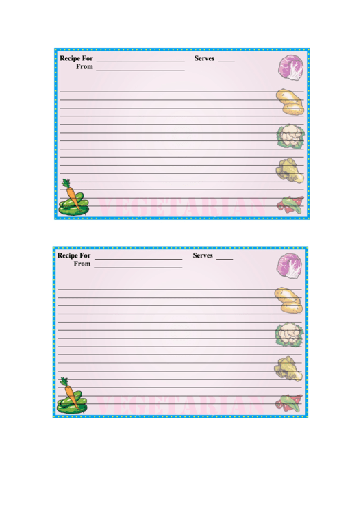 Veggies Recipe Card Template