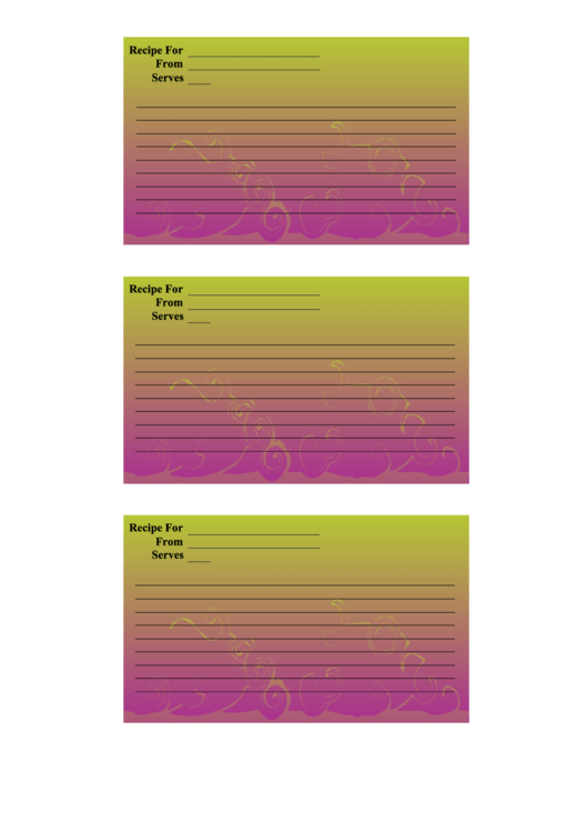 Purple Green Gradient Recipe Card Template