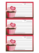 Pink Heart Cupcake Red Recipe Card Template