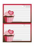 Pink Heart Cupcake Red Recipe Card 4x6