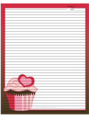 Pink Heart Cupcake Red Recipe Card 8x10