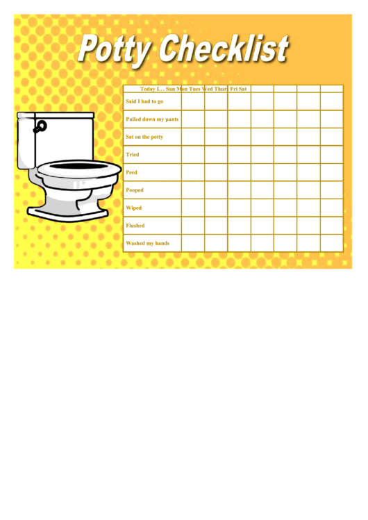 Potty Checklist Printable pdf