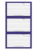 Purple White Chambray Recipe Card Template