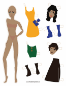 Fashion Paper Doll With Buttons