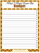 Budget Checklist Template