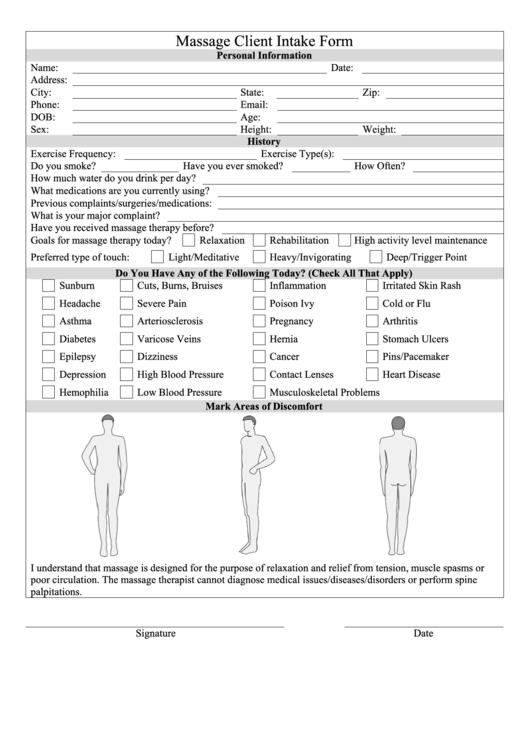 67 Massage Intake Form Templates Free To Download In Pdf