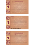 Alphabet - N 3x5 - Lined Recipe Card Template