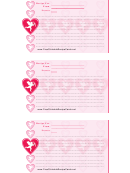 Valentine 3x5 Lined Recipe Card Template - Pink