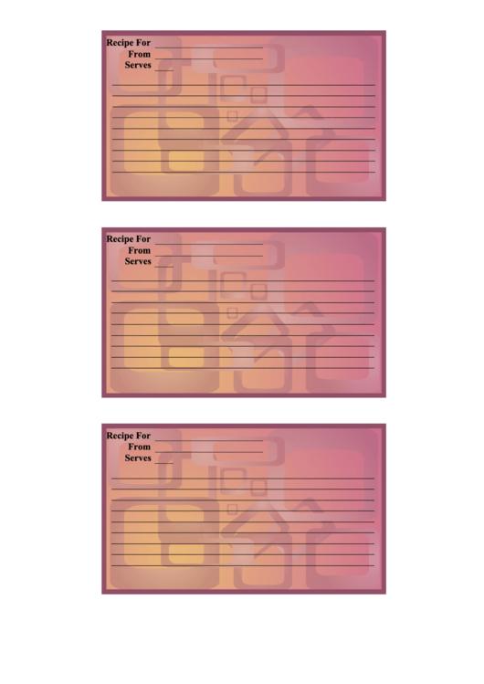 Pink Orange Recipe Card Template