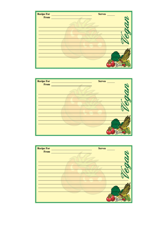 Vegan Recipe Card Template