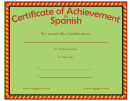 Certificate Of Achievement Template Spanish