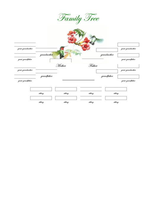 4 Generation Family Tree Many Siblings Template (birds Ans Berries)