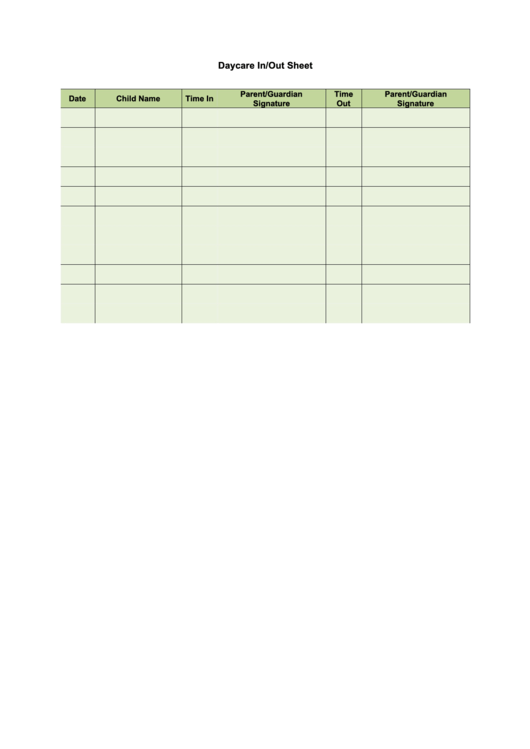 Daycare In/out Sheet Template