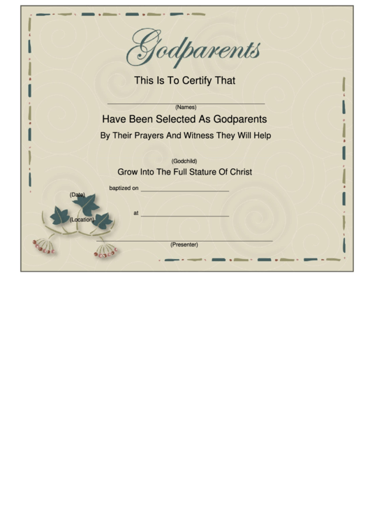 top 13 godparents certificate templates free to download