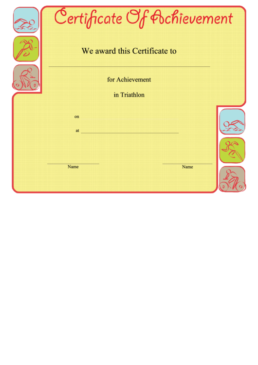 Triathlon Achievement Certificate Template Printable Pdf Download