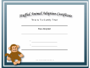 Adoption Certificate Stuffed Animal Monkey Certificate Template