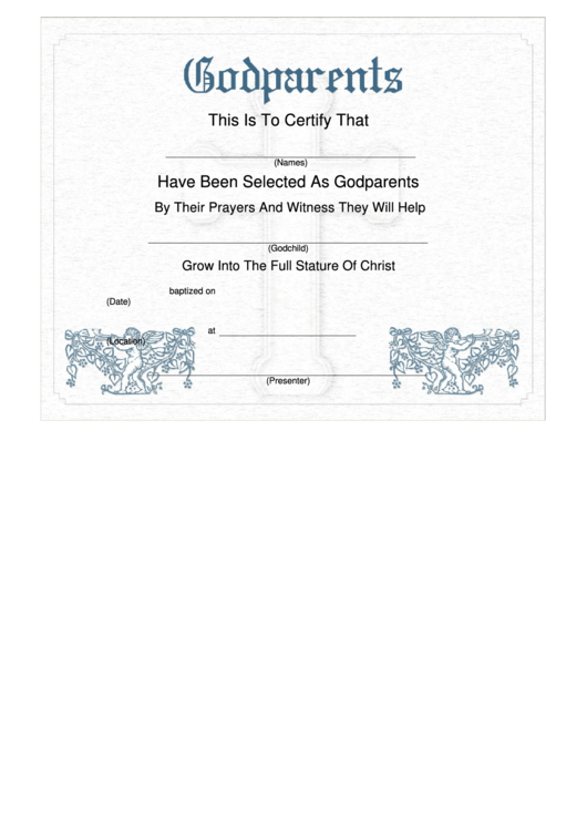Godparents Certificate Template Cherub printable pdf