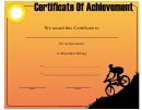 Mountain Biking Achievement Certificate Template