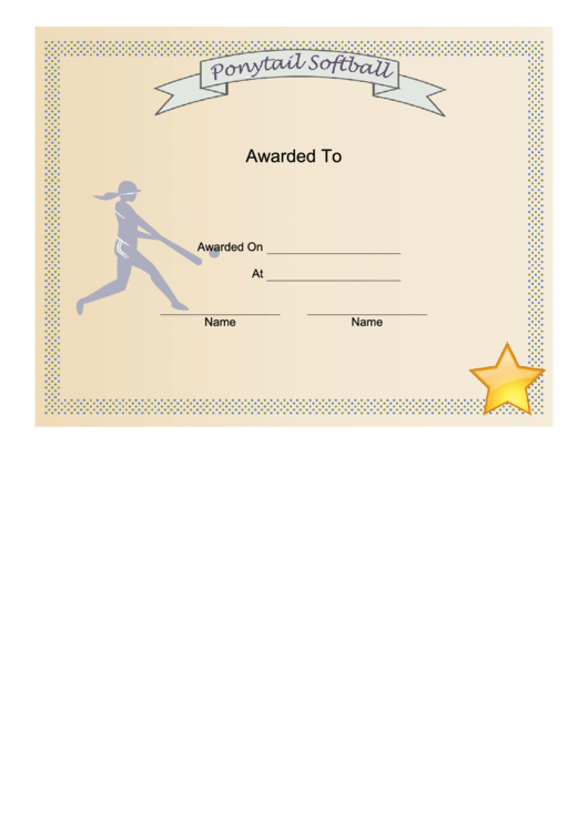Ponytail Softball Certificate