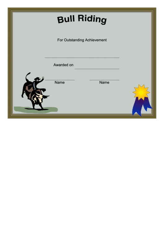 rodeo bull riding certificate printable pdf download