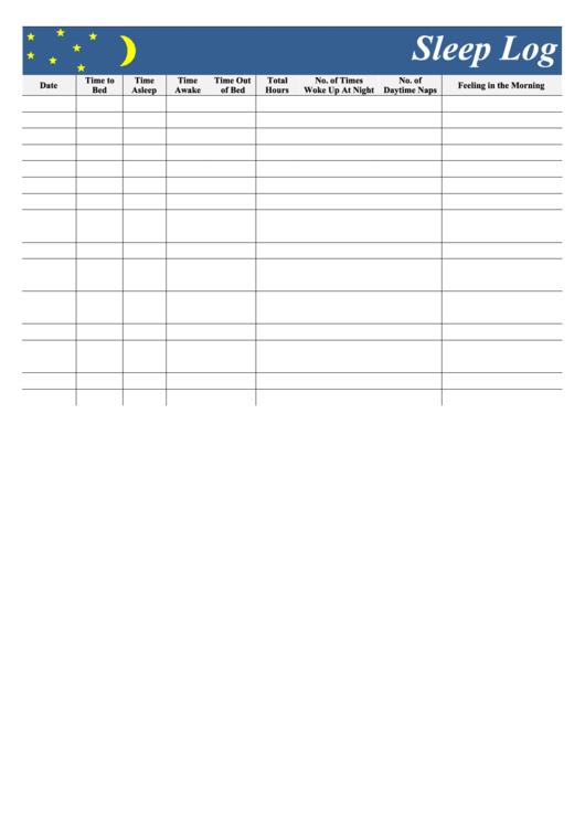 Sleep Log Template Printable pdf