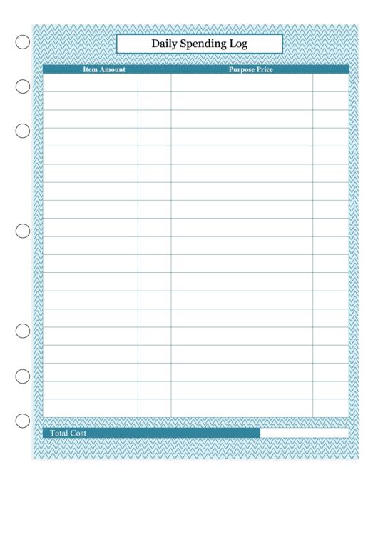 Daily Spending Log Printable pdf