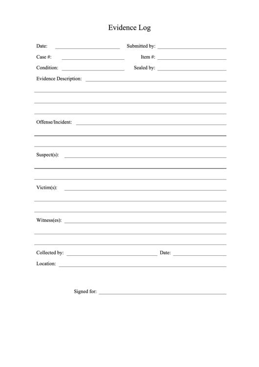 scene breakdown template - crime scene evidence log printable pdf download