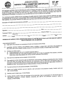 Form St-8f - Agricultural Exemption Certificate For Sales And Use Tax - 2002