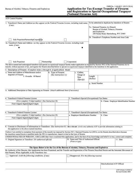 Atf e form 3 application for tax exempt transfer of for Bureau 2a form