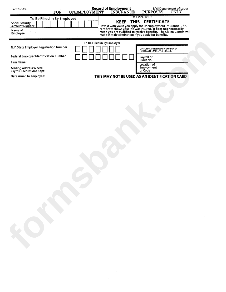 Form Ia 12.3 - Record Of Employment