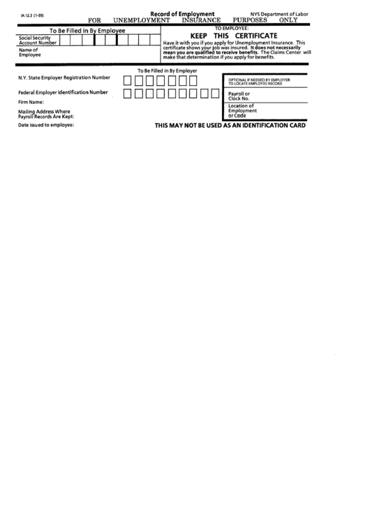 Form Ia 12.3 - Record Of Employment Printable pdf