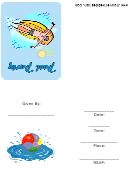 Pool Party Invitations Template With Man On Floatie