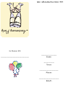 Party Invitation For An Anniversary Party With Champagne Glasses Template