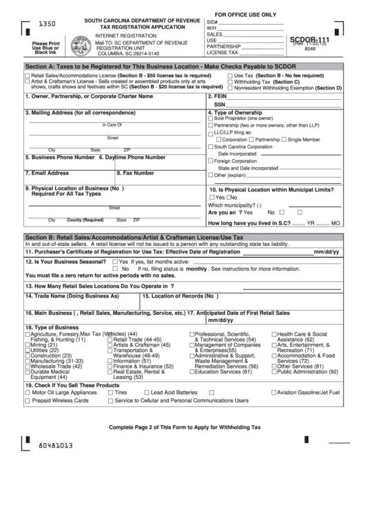 Form scdor 111 south carolina department of revenue tax for Craft fair application template