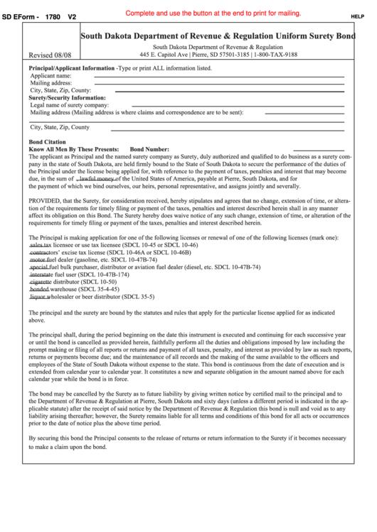 Fillable Uniform Surety Bond - South Dakota Department Of Revenue & Regulation - 2008 Printable pdf
