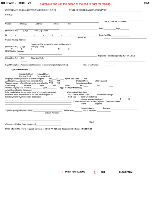 Fillable Form Pt 56 - Certificate Of Real Estate Value [sdcl 7-9-7(4)] - 1999 Printable pdf