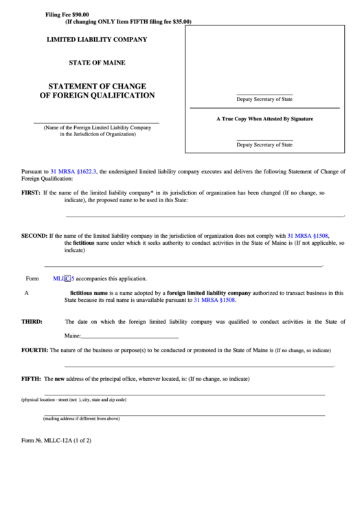 Form Mllc-12a - Limited Liability Company Statement Of Change Of Foreign Qualification - 2013