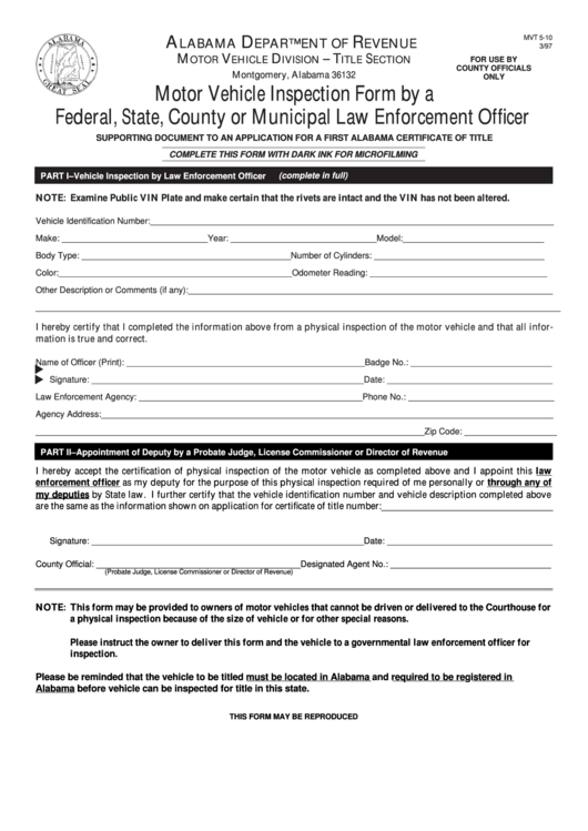 Fillable Form Mvt 5-10 - Motor Vehicle Inspection Form By A Federal, State, County Or Municipal Law Enforcement Officer Printable pdf