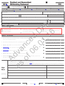 California Form 592 Draft - Resident And Nonresident Withholding Statement - 2016