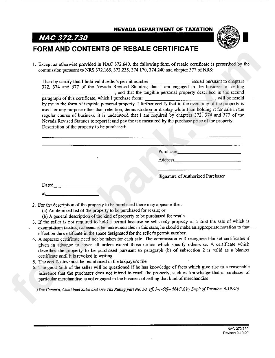 Form Nac 372730 Form And Contents Of Resale Certificate Printable