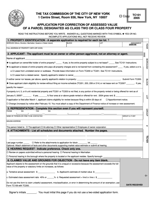 Form Tc101 - Application For Correction Of Assessed Value Of A Parcel - 2005 Printable pdf