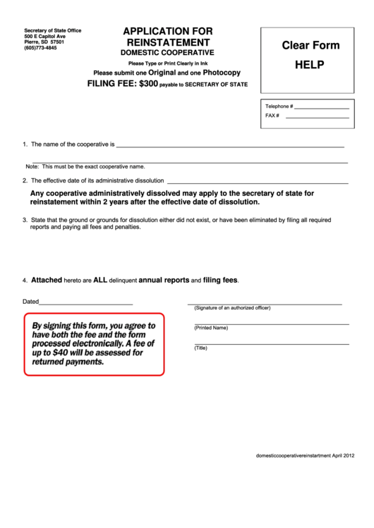 Application For Reinstatement - 2012 Printable pdf