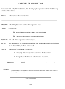 Articles Of Dissolution Form - Florida Statutes
