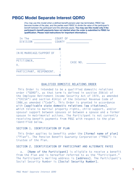 Pbgc Model Separate Interest Qdro Printable pdf