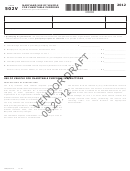 Form 502v Draft - Maryland Use Of Vehicle For Charitable Purposes - 2012