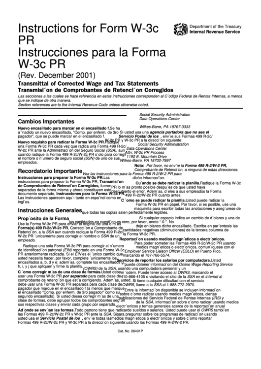 Instructions For Form W-3c Pr - Transmittal Of Corrected Wage And Tax Statements - 2001 Printable pdf
